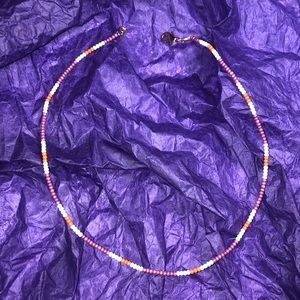 Jewelry - Purple, White, and Orange Beaded Choker